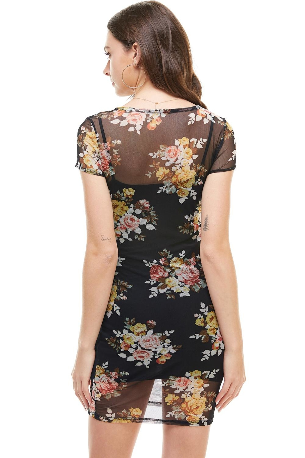 Miley and Molly Floral Inner Lined Mock Neck Cap Sleeve Fitted Dress - Side Cropped Image