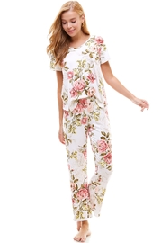 Miley and Molly Floral Lounge Wear Matching Sets White Color - Product Mini Image