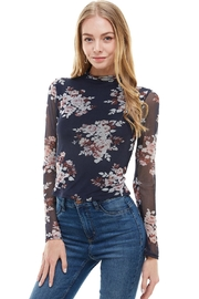 Miley and Molly Floral Mock Neck Long Sleeve Fitted Top - Product Mini Image