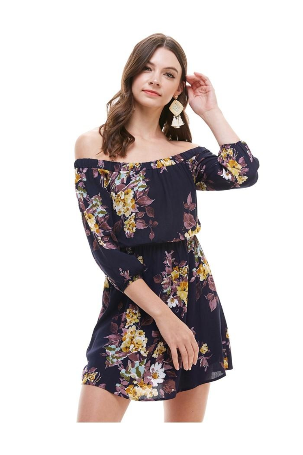 Miley and Molly Floral Off Shoulder A Line Dress - Main Image