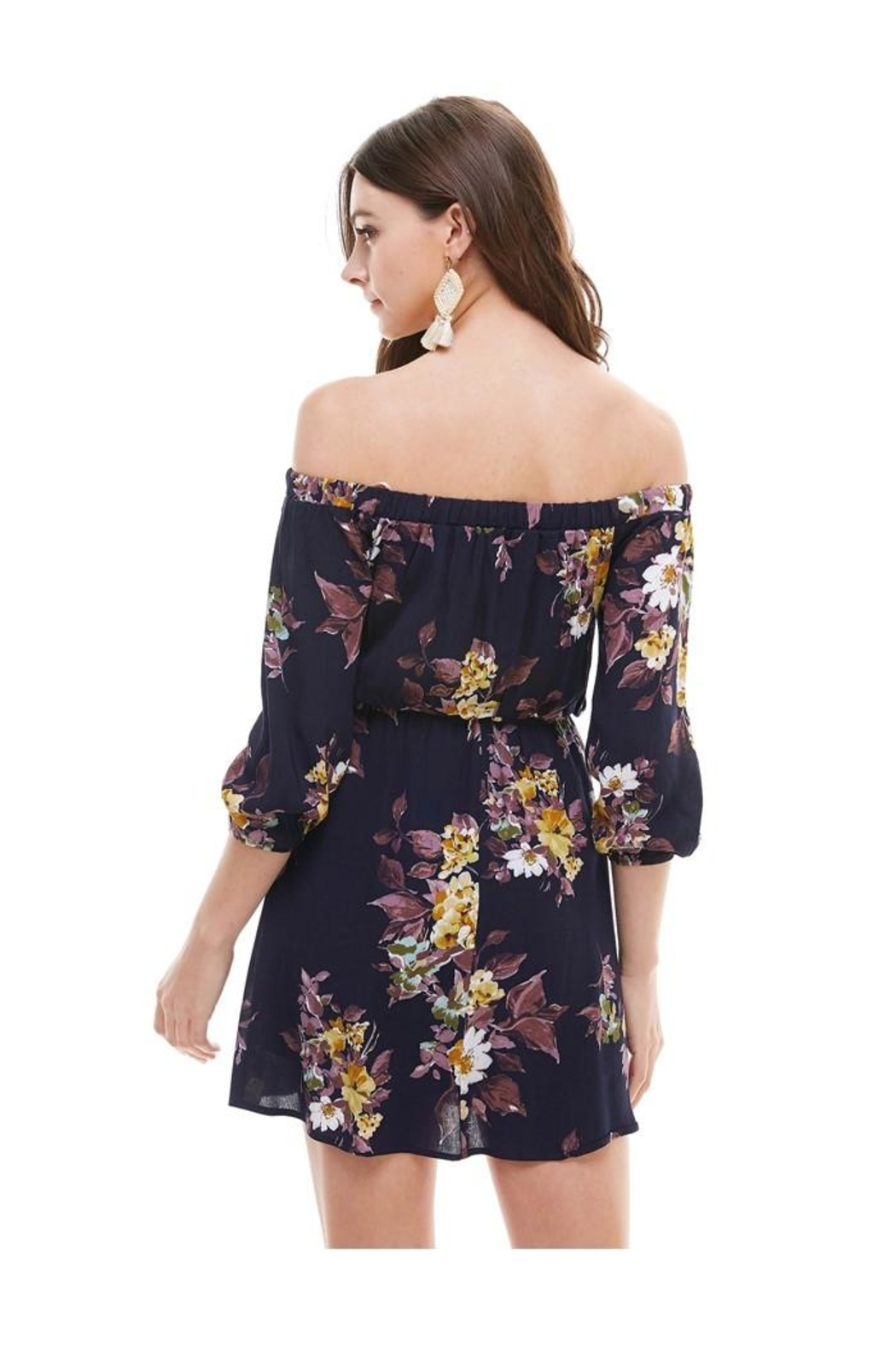 Miley and Molly Floral Off Shoulder A Line Dress - Side Cropped Image