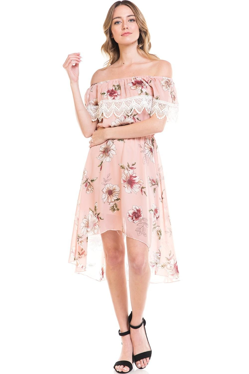 Miley and Molly Floral Off Shoulder Hi-Low Dress - Front Full Image