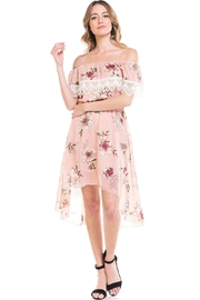 Miley and Molly Floral Off Shoulder Hi-Low Dress - Front full body