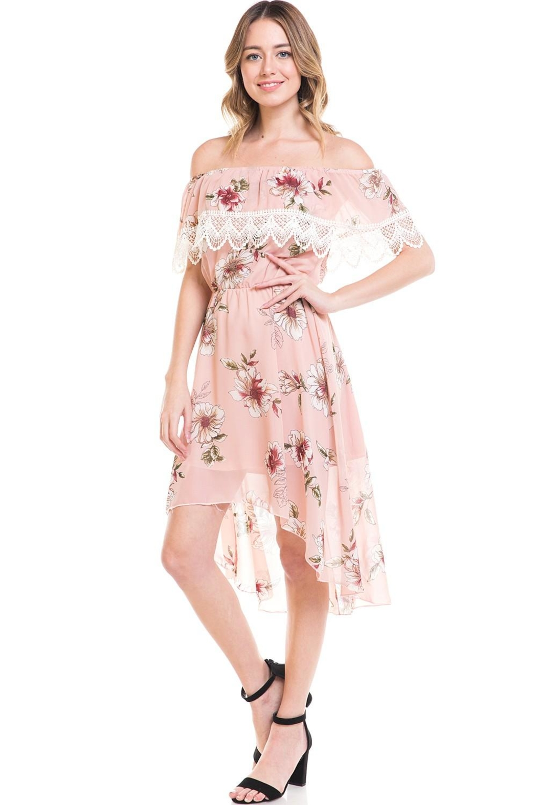 Miley and Molly Floral Off Shoulder Hi-Low Dress - Main Image