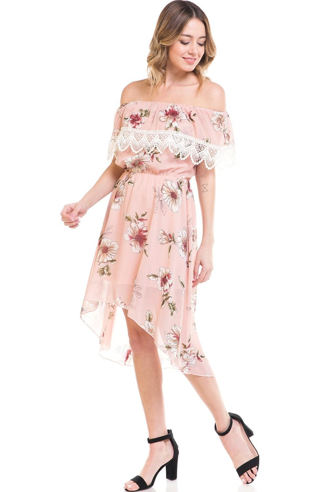 Miley and Molly Floral Off Shoulder Hi-Low Dress - Side Cropped Image