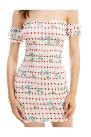 Miley and Molly Floral Off Shoulder Smocked Fitted Dress - Front full body