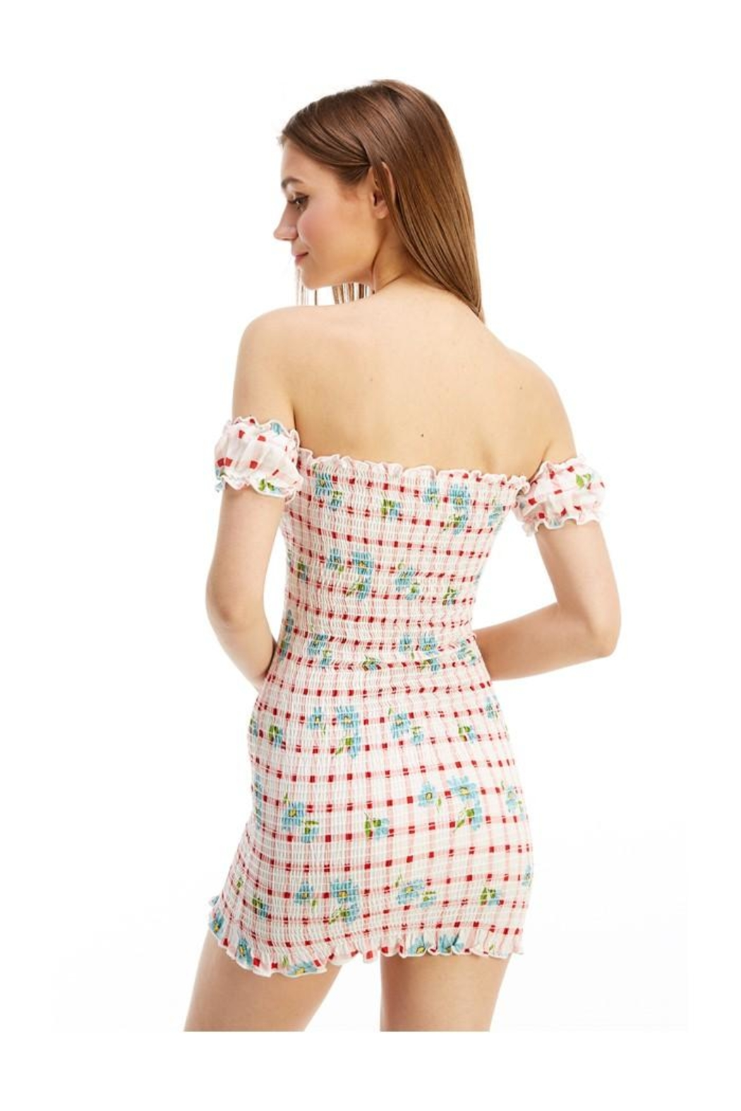 Miley and Molly Floral Off Shoulder Smocked Fitted Dress - Side Cropped Image