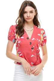 Miley and Molly Floral Print Button Detail Surplice With Cap Puff Sleeve Blouse - Product Mini Image