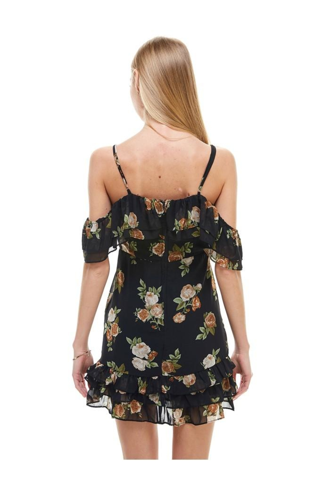 Miley and Molly Floral Print Off Shoulder Ruffle Detail Dress - Front Full Image