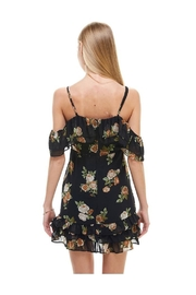Miley and Molly Floral Print Off Shoulder Ruffle Detail Dress - Front full body
