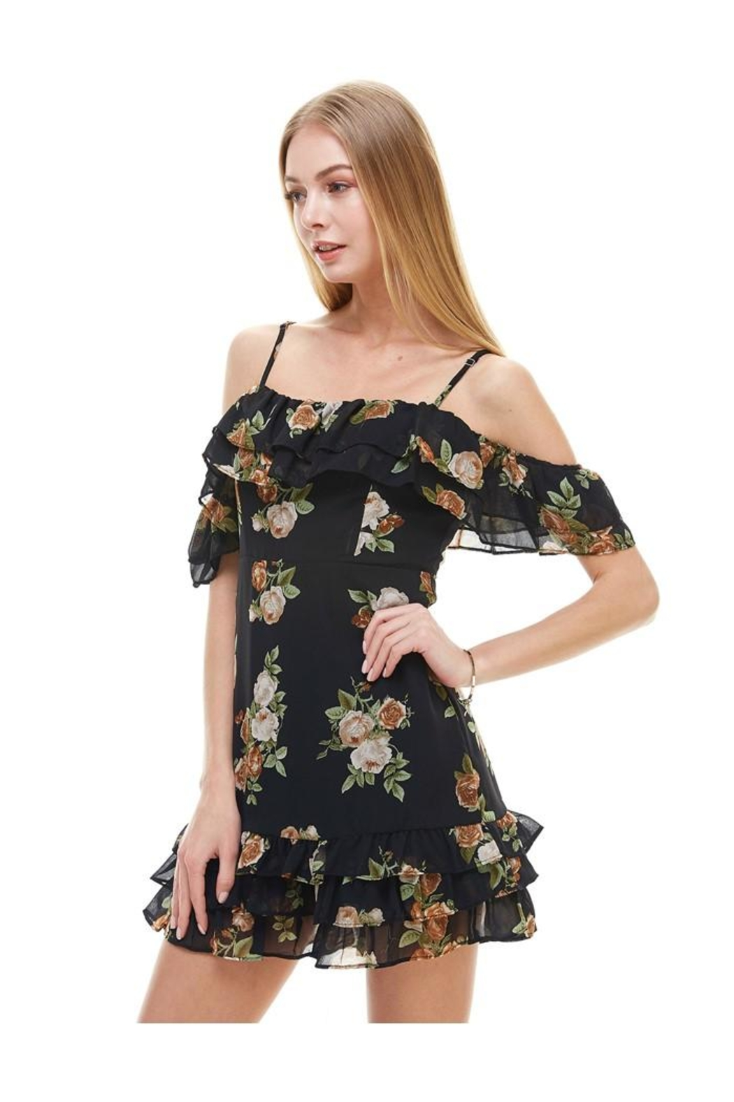 Miley and Molly Floral Print Off Shoulder Ruffle Detail Dress - Main Image