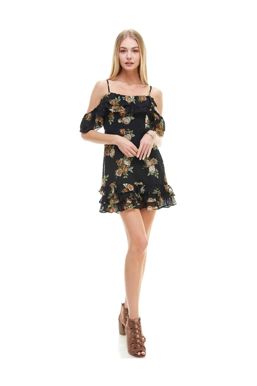 Miley and Molly Floral Print Off Shoulder Ruffle Detail Dress - Side Cropped Image
