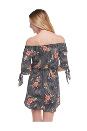 Miley and Molly Floral Print Off Shoulder Tie Sleeve Dress - Side cropped
