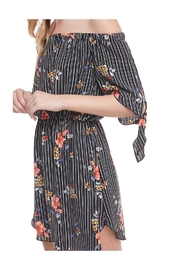 Miley and Molly Floral Print Off Shoulder Tie Sleeve Dress - Front full body