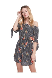 Miley and Molly Floral Print Off Shoulder Tie Sleeve Dress - Front cropped