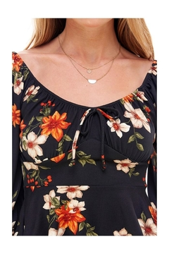 Miley and Molly Floral Print Rouched Chest Tie Front Peplum Long Sleeve Peasant Top - Alternate List Image