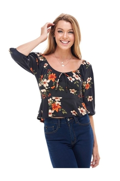 Miley and Molly Floral Print Rouched Chest Tie Front Peplum Long Sleeve Peasant Top - Product List Image