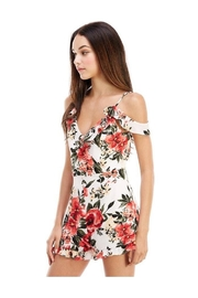Miley and Molly Floral Print Ruffle Sleeve Romper - Front full body