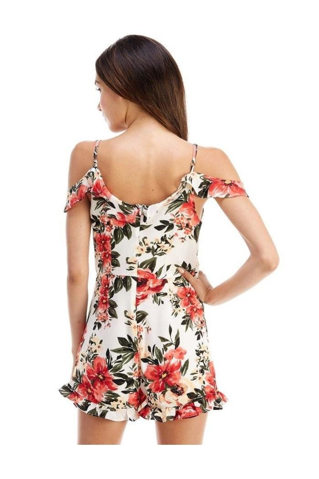 Miley and Molly Floral Print Ruffle Sleeve Romper - Side Cropped Image