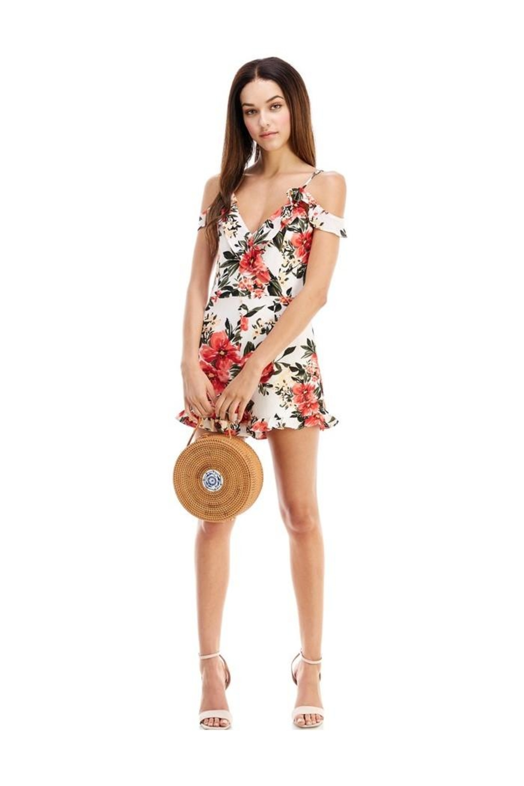 Miley and Molly Floral Print Ruffle Sleeve Romper - Back Cropped Image