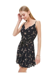 Miley and Molly Floral Print Surplice Self Sash Skater Dress - Front full body