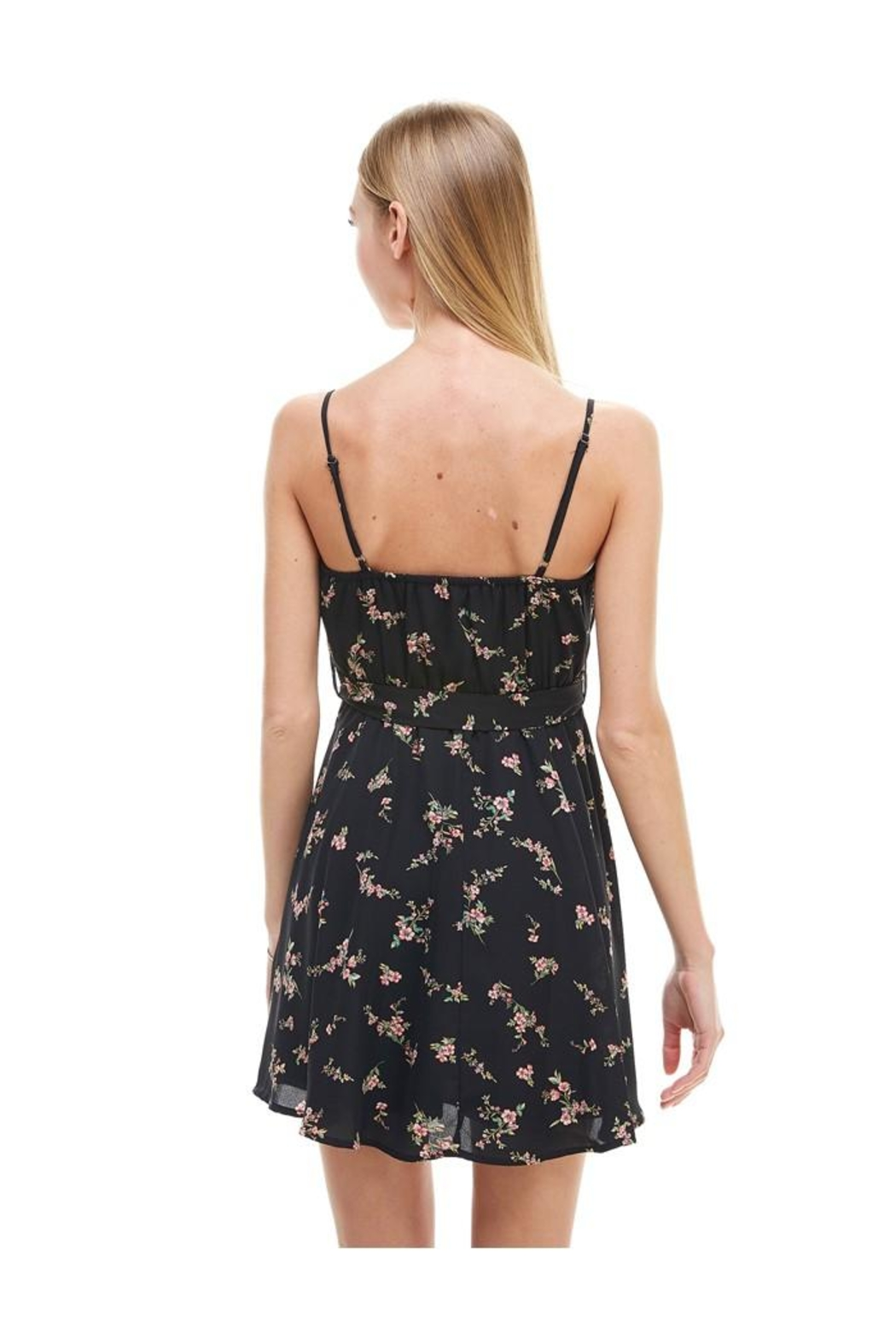 Miley and Molly Floral Print Surplice Self Sash Skater Dress - Side Cropped Image