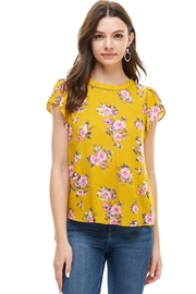 Miley and Molly Floral Print Tulip Cap Sleeves Lattice Trim Blouse - Product Mini Image