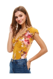 Miley and Molly Floral  Printed Peasant Style Bodysuit - Front full body