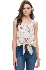 Miley and Molly Floral Printed Sleeveless Tie Front Top - Product Mini Image