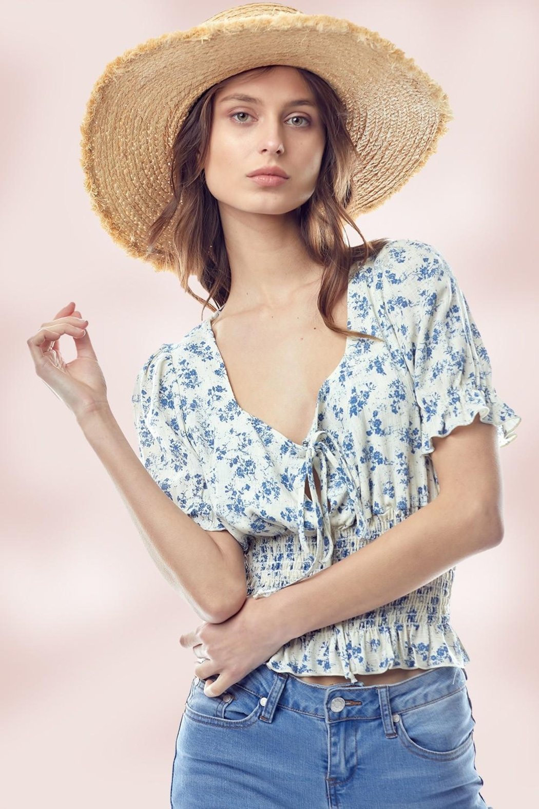 Miley and Molly Floral Puff Sleeve Smock Hem Blouse Top - Main Image