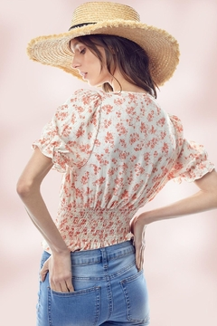 Miley and Molly Floral Puff Sleeve Smock Hem Blouse Top - Alternate List Image