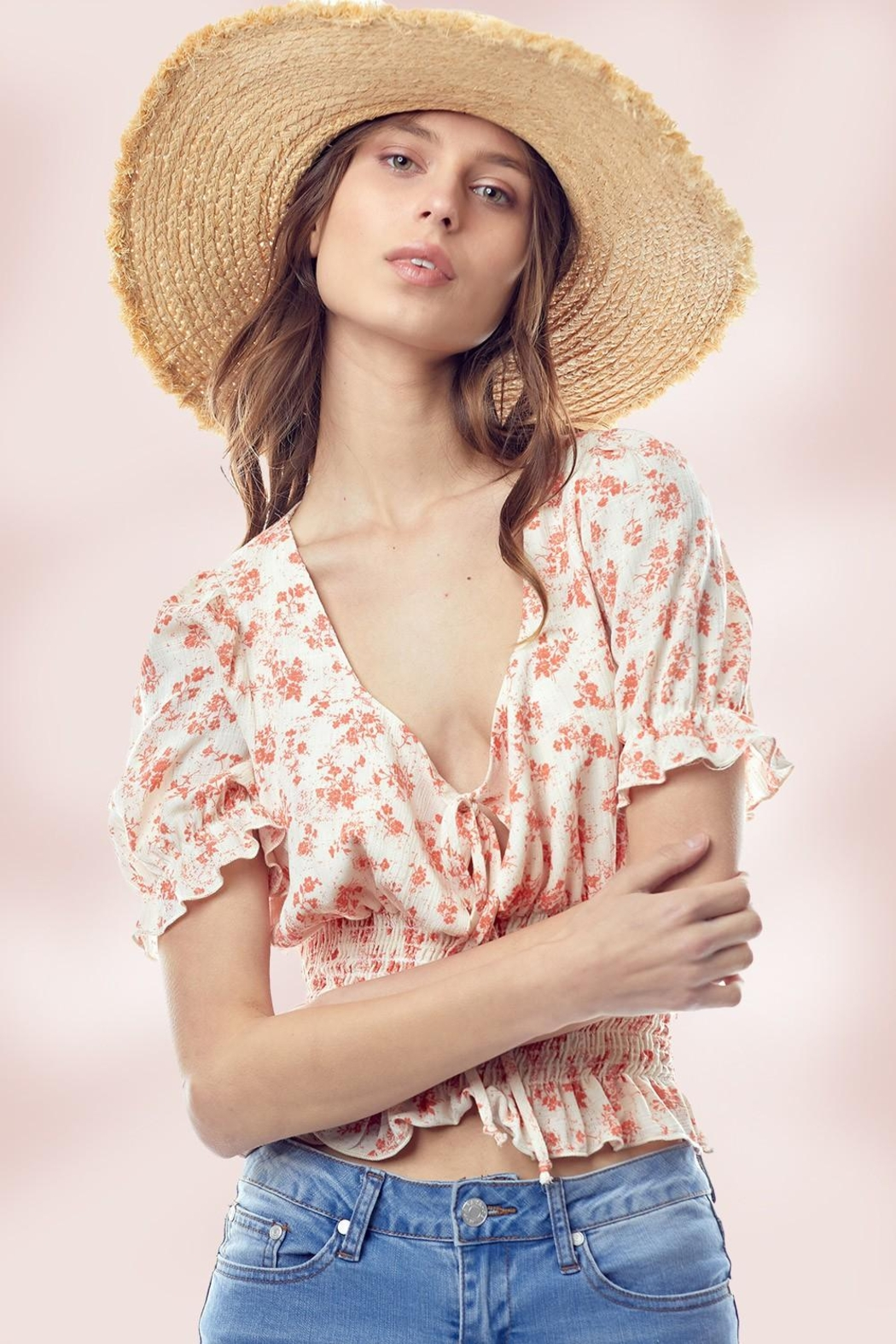Miley and Molly Floral Puff Sleeve Smock Hem Blouse Top - Front Cropped Image