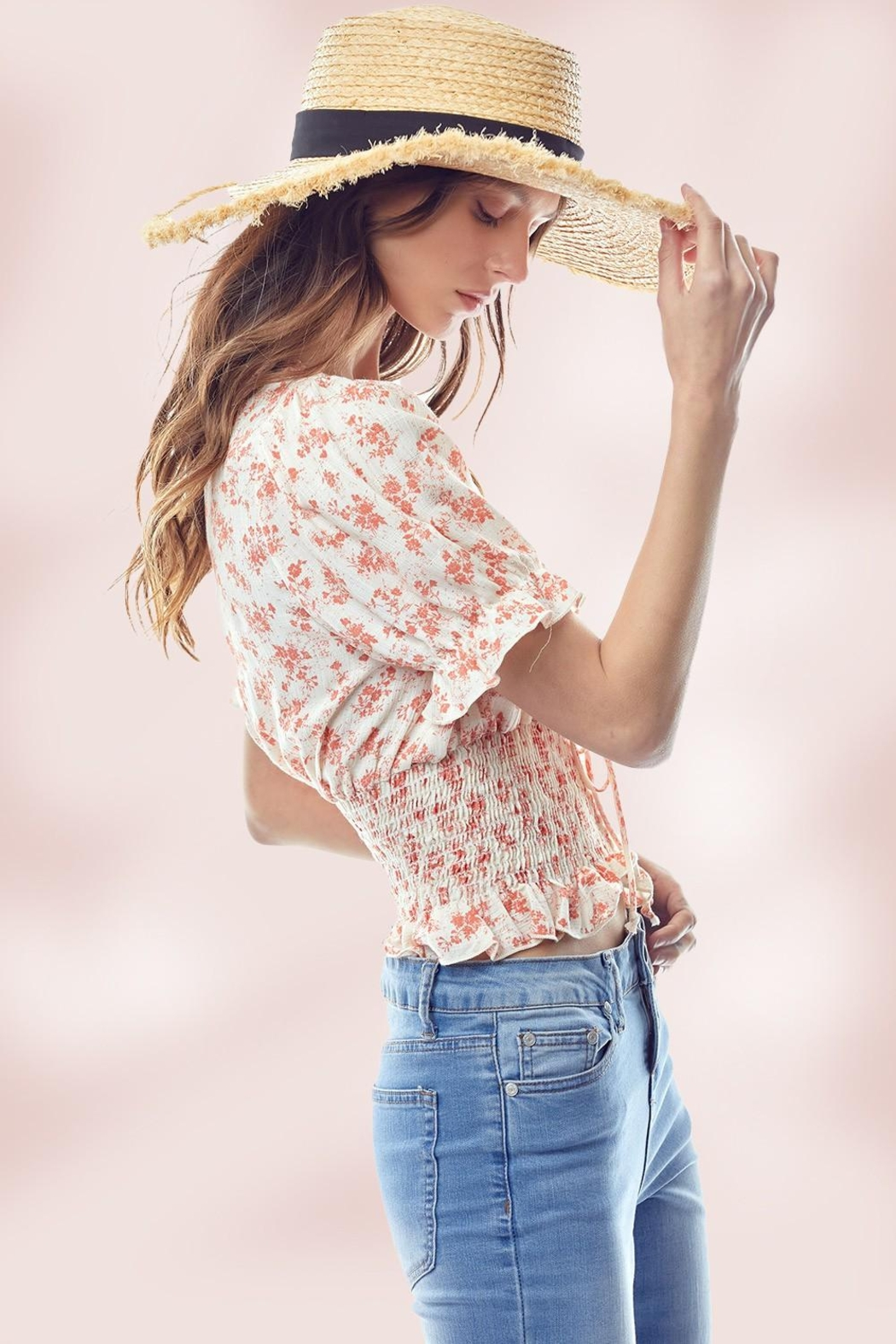 Miley and Molly Floral Puff Sleeve Smock Hem Blouse Top - Front Full Image