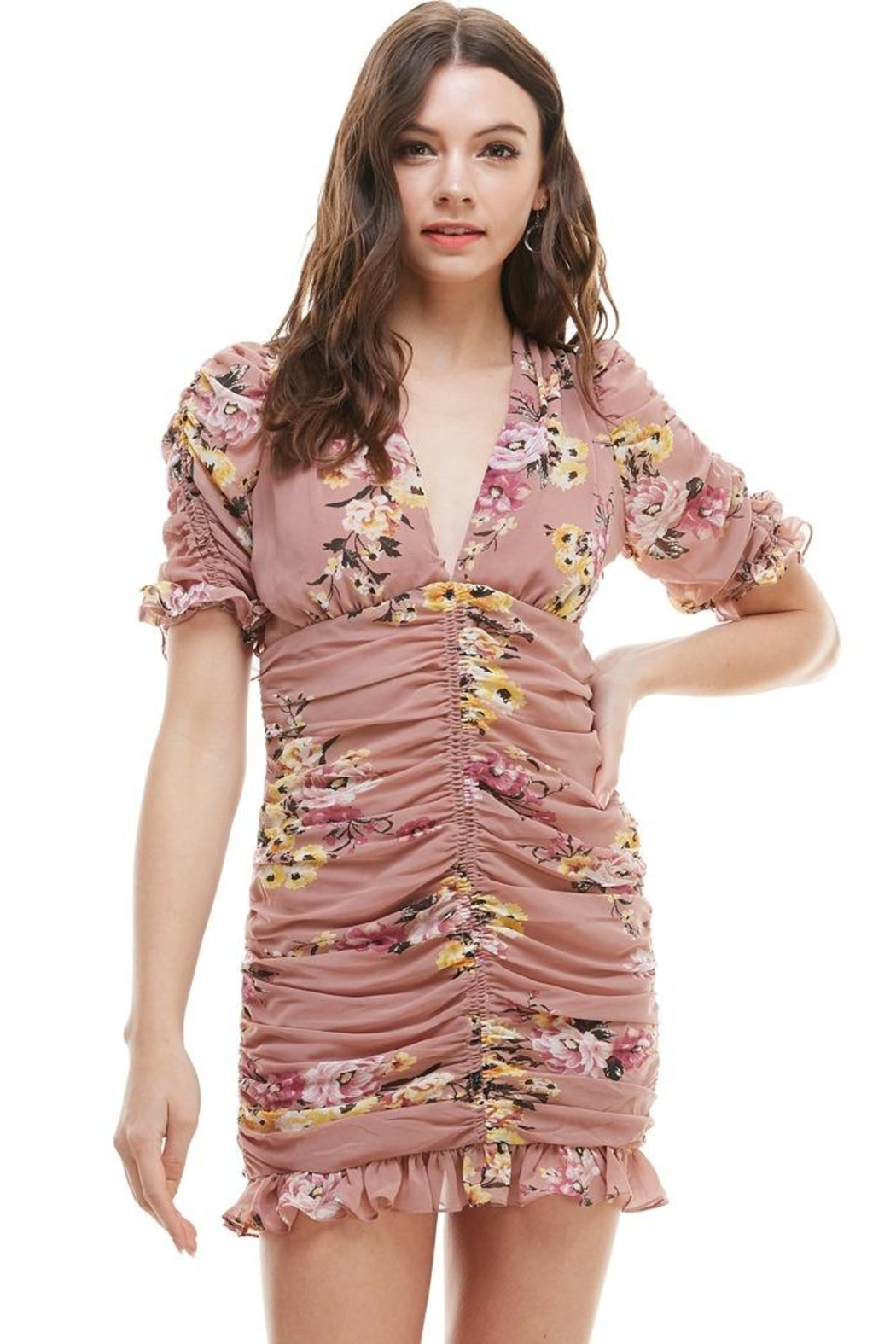 Miley and Molly Floral Ruched V Neck Dress - Main Image