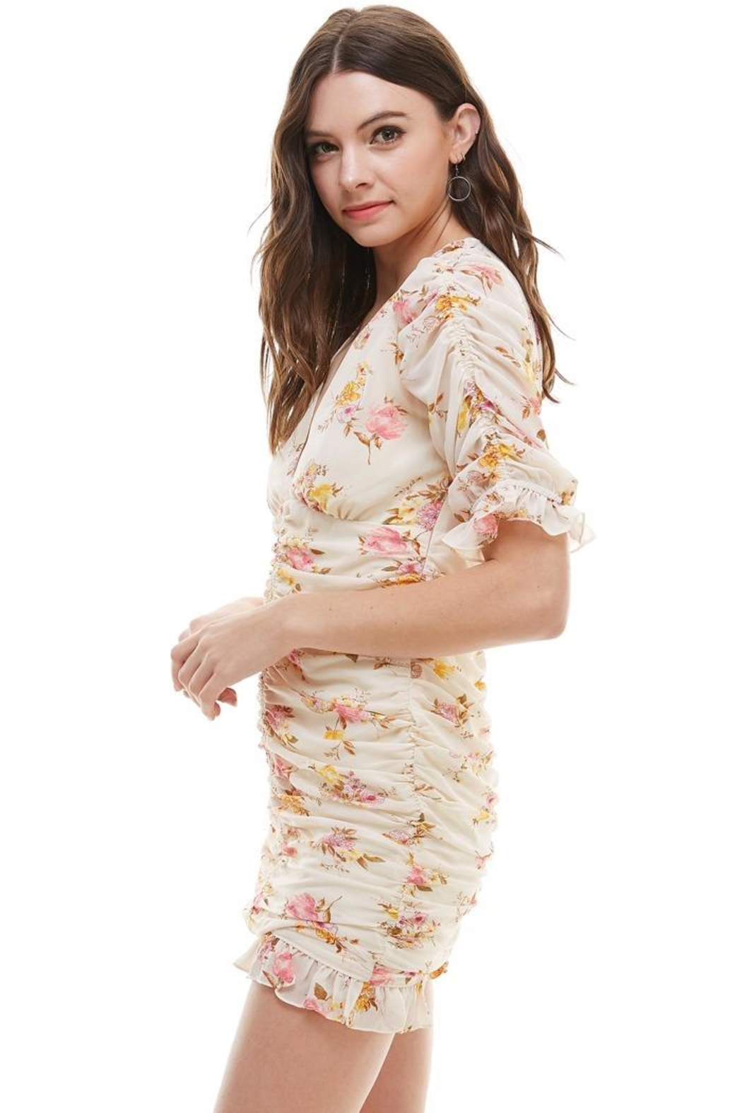 Miley and Molly Floral Ruched V Neck Dress - Front Full Image
