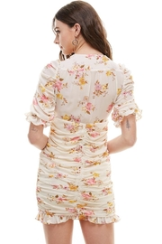 Miley and Molly Floral Ruched V Neck Dress - Side cropped