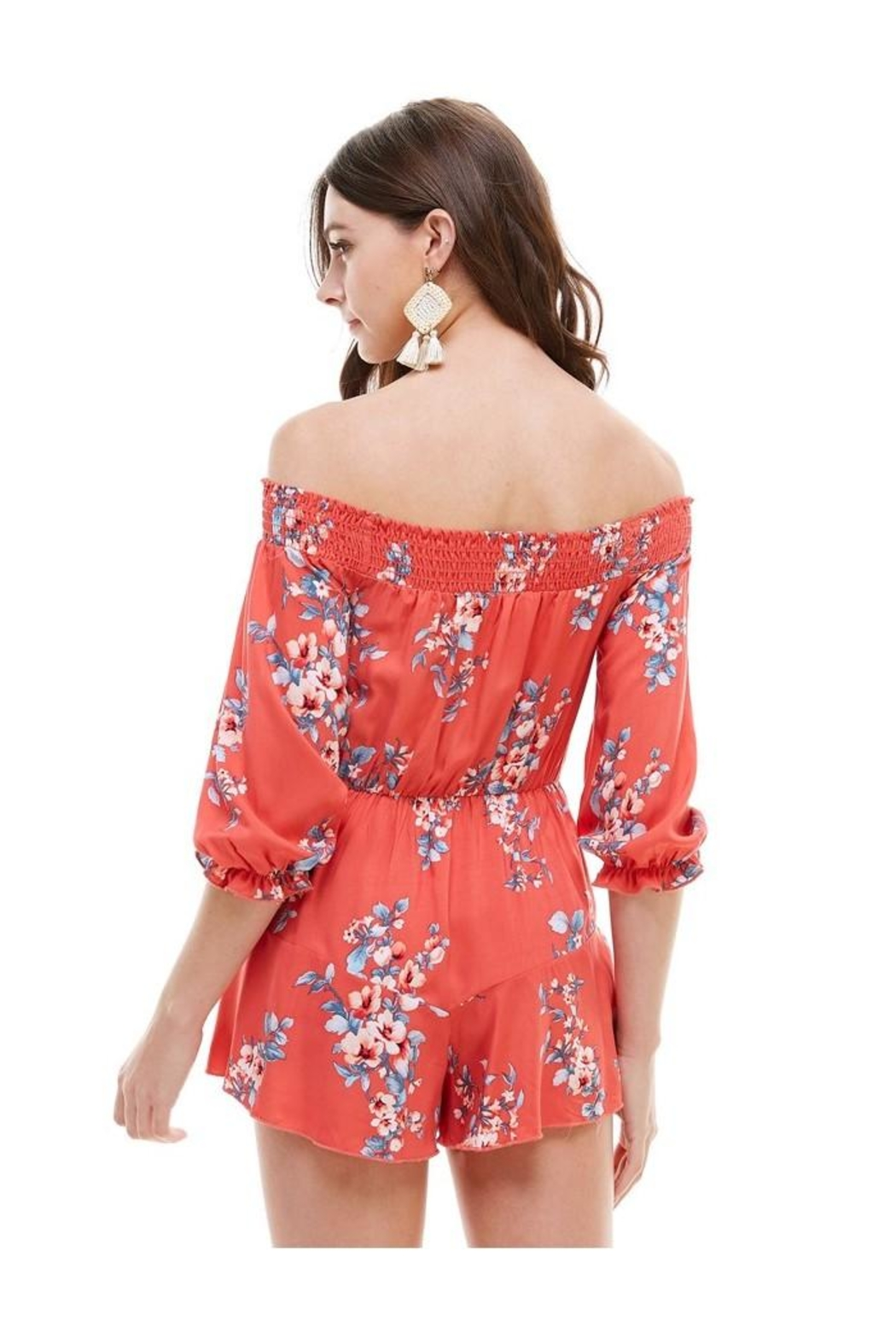 Miley and Molly Floral Smocked Off Shoulder Romper - Side Cropped Image