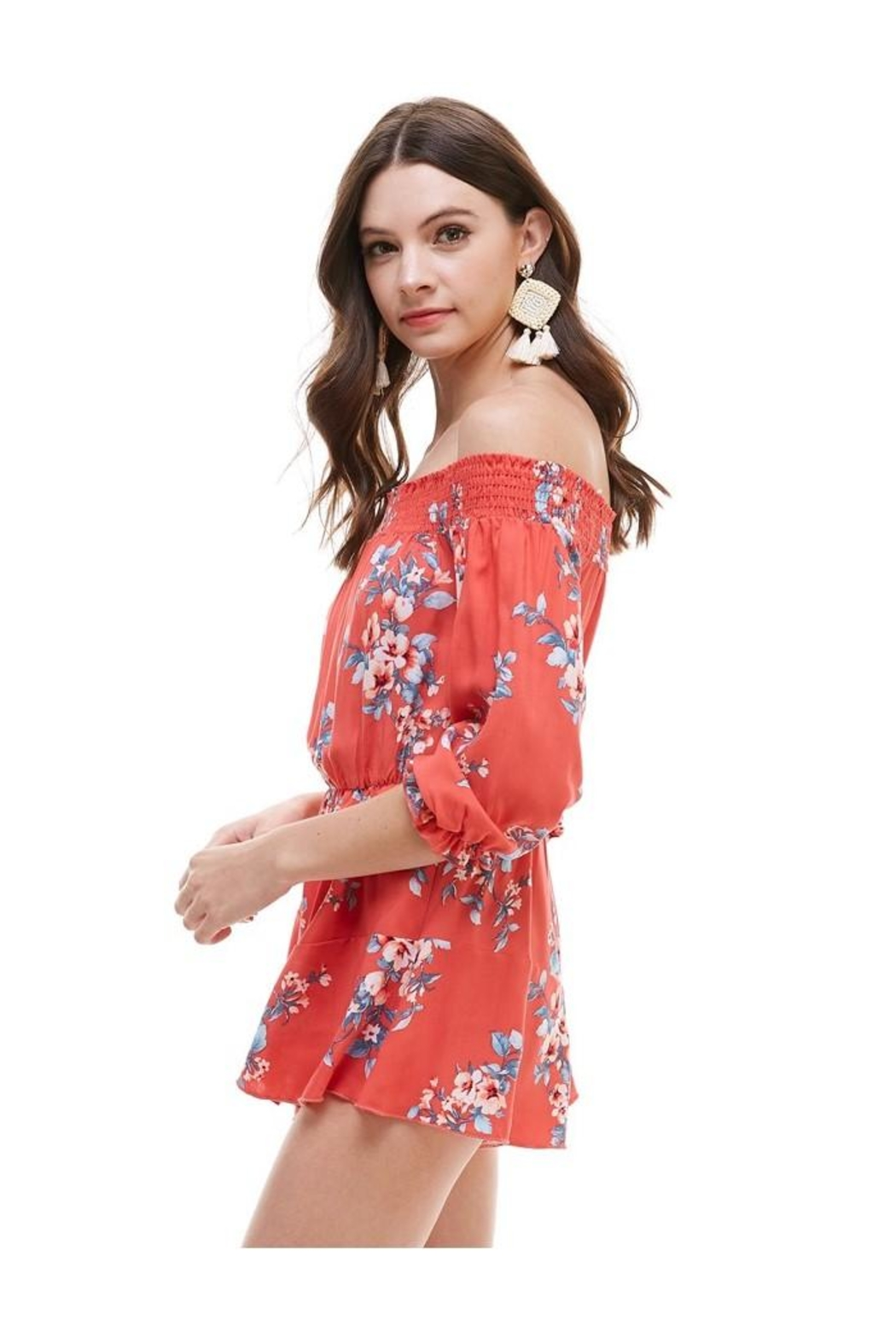 Miley and Molly Floral Smocked Off Shoulder Romper - Front Full Image