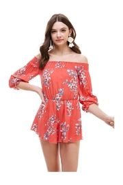 Miley and Molly Floral Smocked Off Shoulder Romper - Product Mini Image