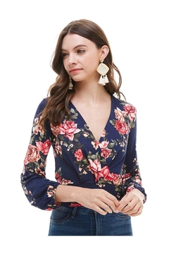 Miley and Molly Floral Smocked Waist Surplus Top - Product List Image
