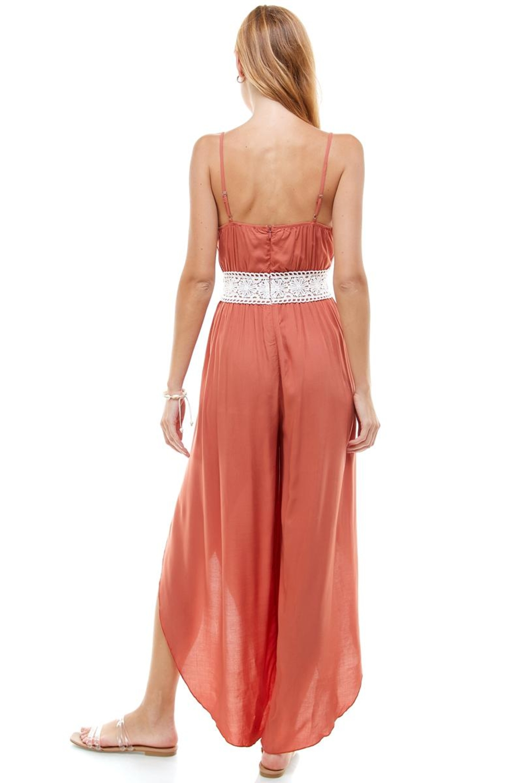 Miley and Molly Floral & Solid Crochet Tulip Leg Cami Jumpsuit - Side Cropped Image