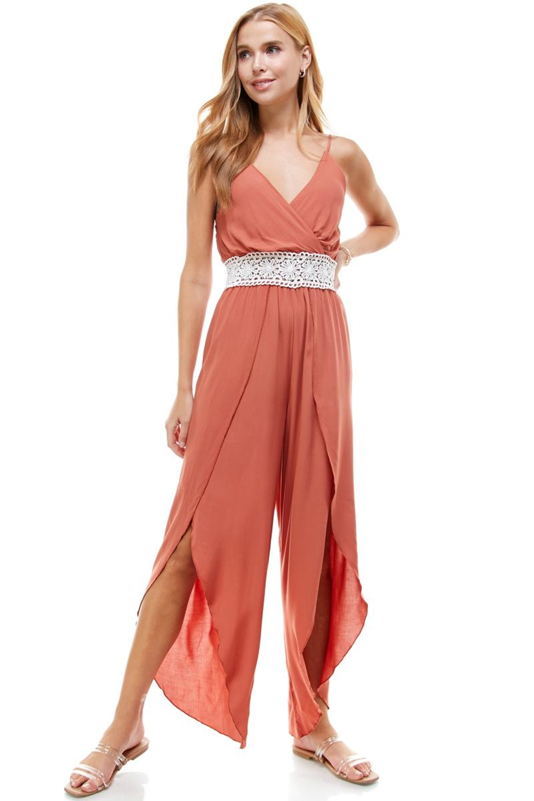 Miley and Molly Floral & Solid Crochet Tulip Leg Cami Jumpsuit - Main Image