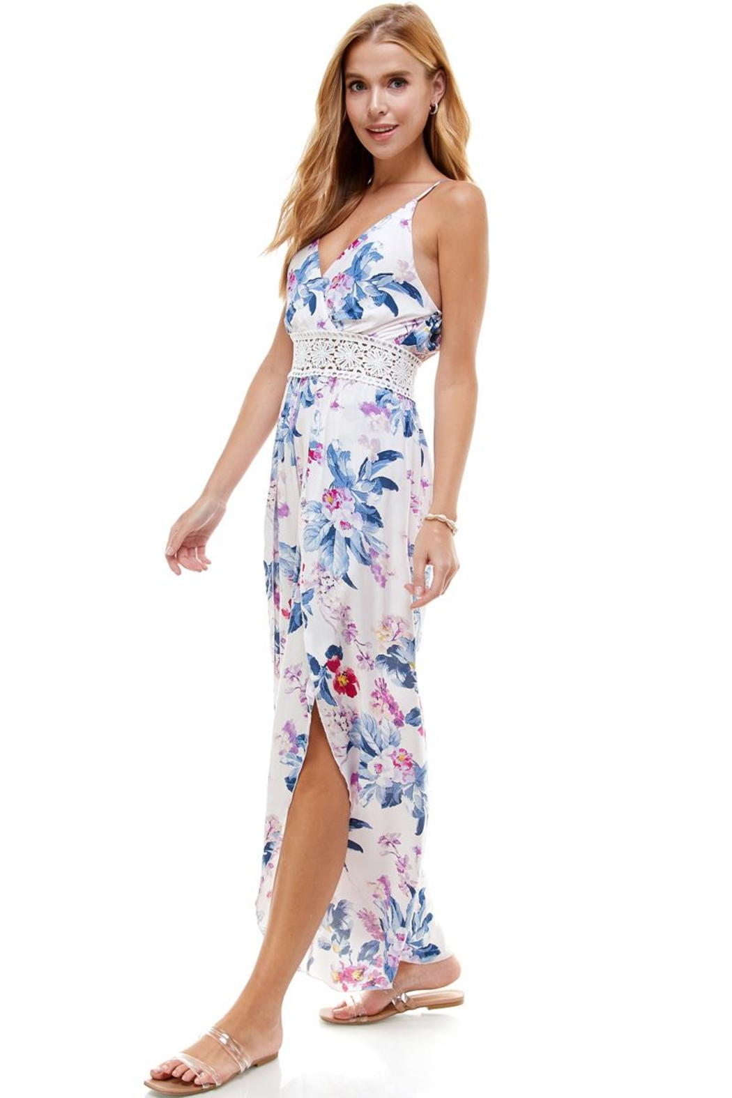 Miley and Molly Floral & Solid Crochet Tulip Leg Cami Jumpsuit - Front Full Image
