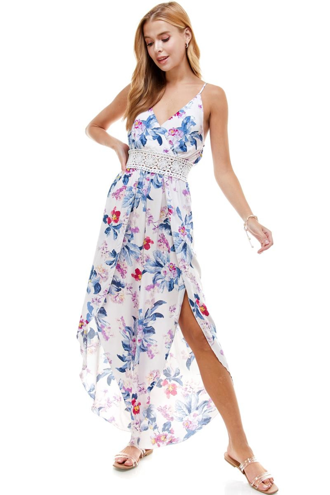 Miley and Molly Floral & Solid Crochet Tulip Leg Cami Jumpsuit - Front Cropped Image