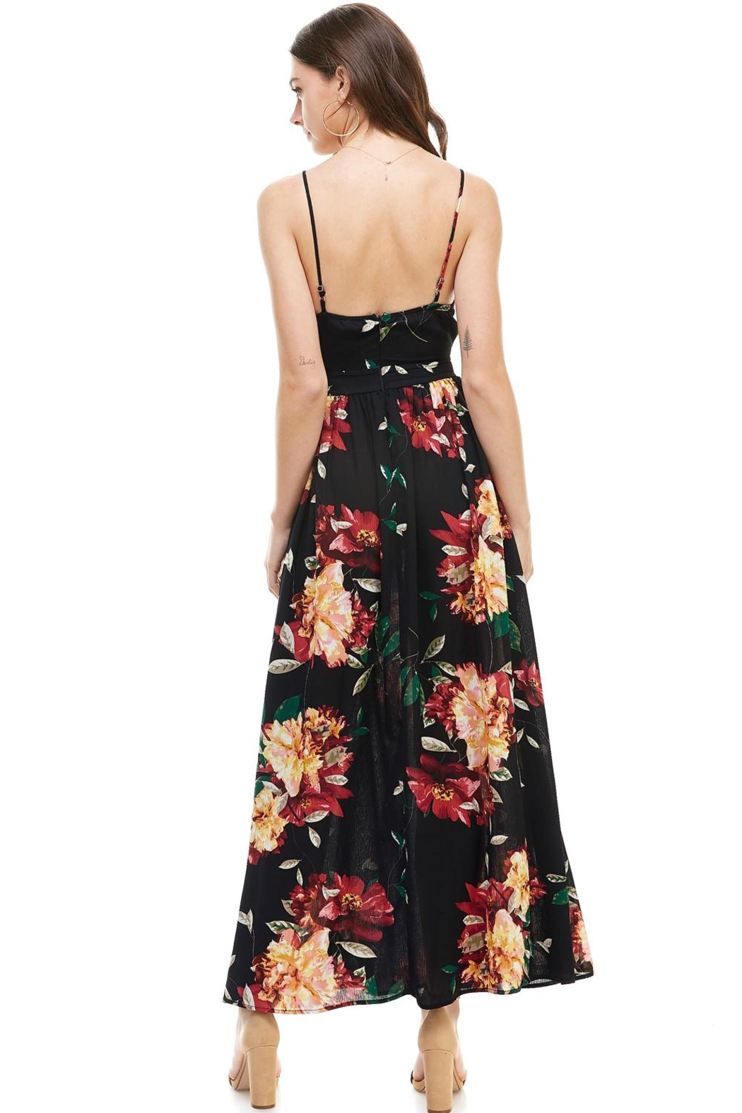 Miley and Molly Floral Spaghetti Strap Maxi Dress - Side Cropped Image