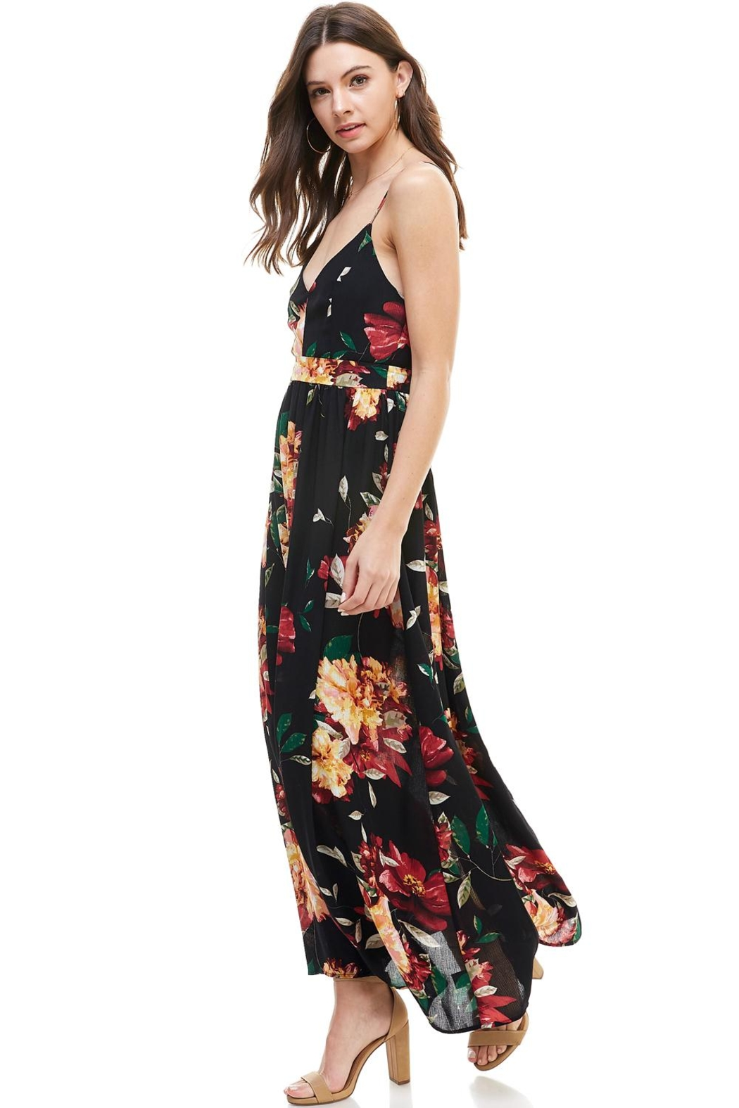 Miley and Molly Floral Spaghetti Strap Maxi Dress - Front Full Image