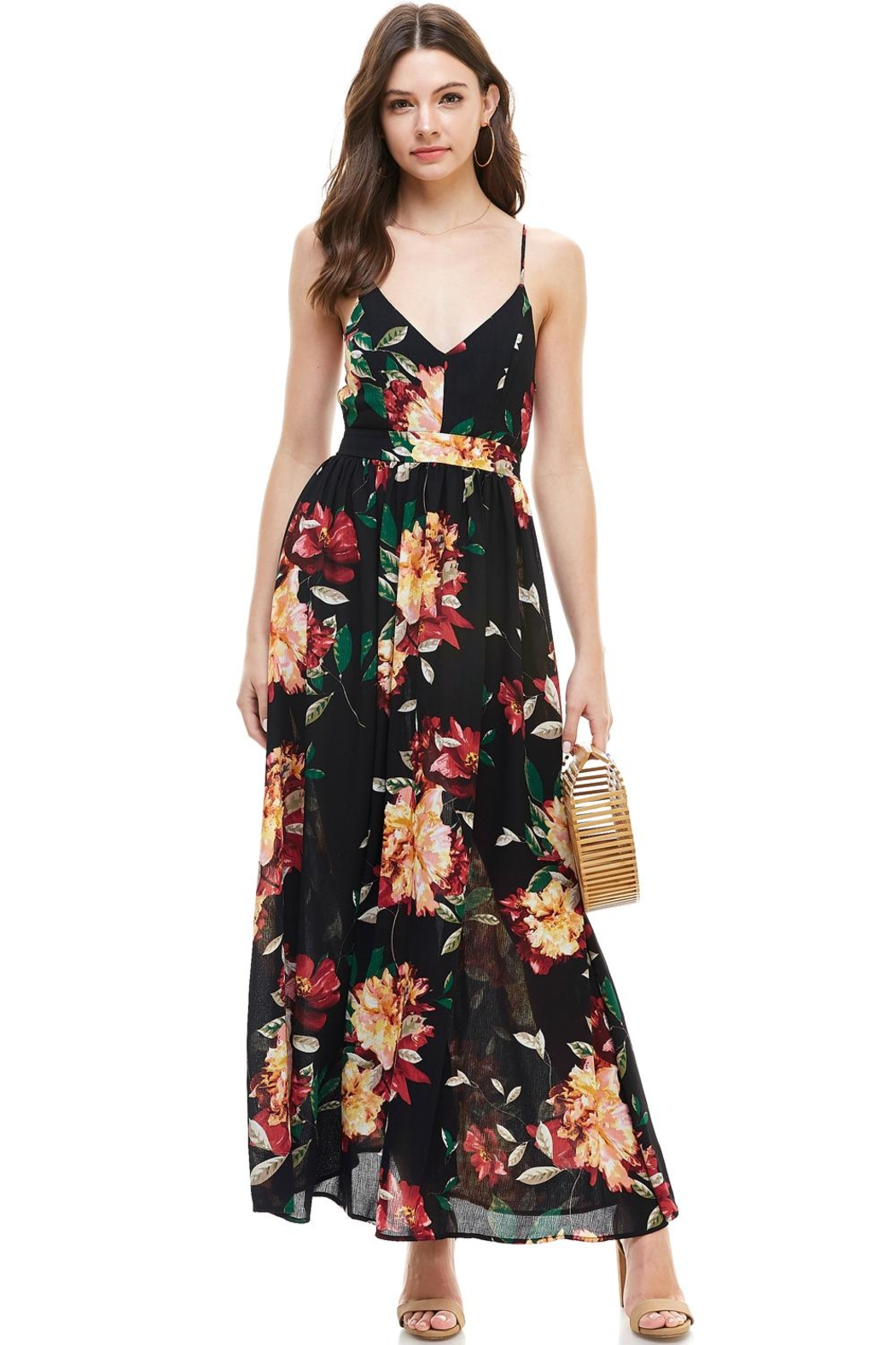 Miley and Molly Floral Spaghetti Strap Maxi Dress - Main Image