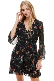 Miley and Molly Floral V Neck Long Sleeve Skater Dress - Product Mini Image