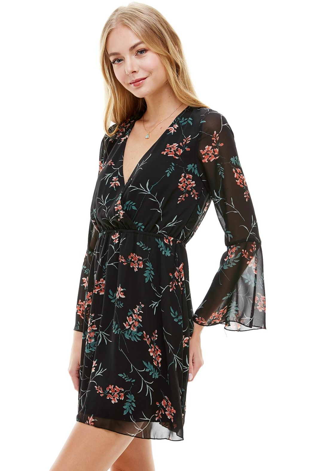 Miley and Molly Floral V Neck Long Sleeve Skater Dress - Side Cropped Image