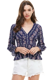 Miley and Molly Floral V Neck Smocked Sleeve Peplum Hem Blouse - Product Mini Image
